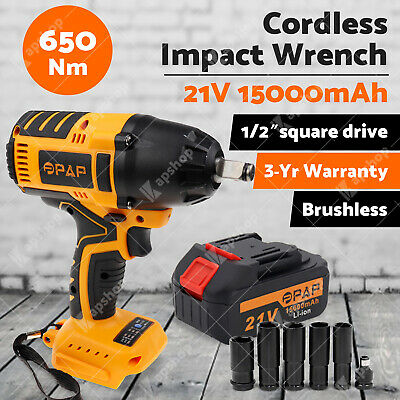 "1/2"" Cordless Impact Wrench Brushless Li-ion Battery Rattle Gun Socket Car Tool"