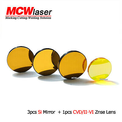 3x Si Mirrors 20mm+ 1x 12mm IIVI ZnSe Lens 10600nm CO2 Laser Engraver Cutter