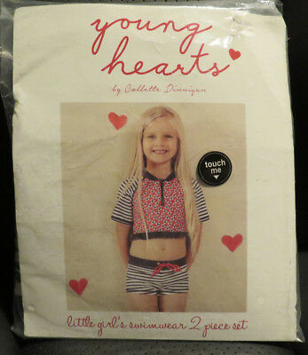 Size 0 Swimsuit, young Hearts by Collette Dinnigan Design, 50 UPF, BNIP,2 Pc
