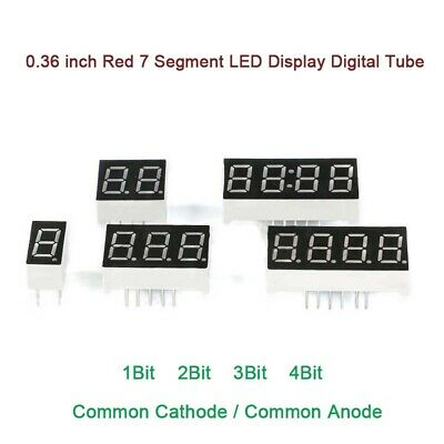 0.36 inch 7 Segment Red LED Display Digital Tube Common Cathode/Anode 1/2/3/4Bit