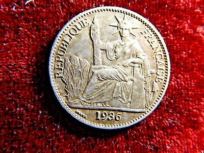FRANCE INDO-CHINA 1936 SILVER 50 CENT, Top Condition
