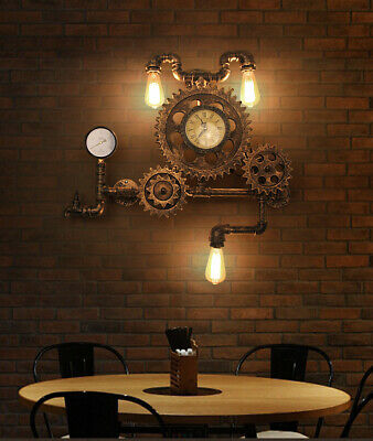 Steampunk Pipe & Gear Sconce E27 Light Wall Lamp Industrial Lighting Antiqued