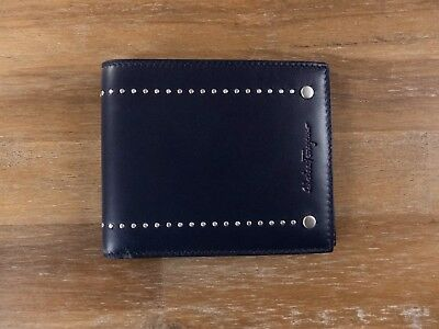a56ba8992b3  450 SALVATORE FERRAGAMO blue leather bifold wallet authentic - New with Box