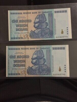(2) 2008 Zimbabwe One Hundred Trillion Dollars Banknote, Uncirculated