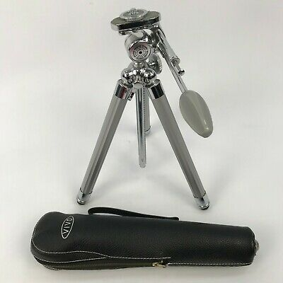 SANWA Silver 'Vivo' Vintage Adjustable Extending Compact Tripod & Case WE513