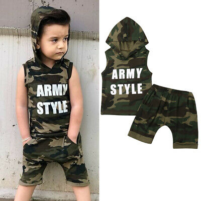US Toddler Baby Boys Hooded T-shirt Tops Shorts Pants Outfits Camouflage Clothes