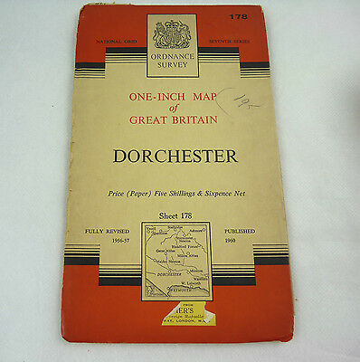 Vintage Ordnance Survey One Inch Paper Map Sheet 178 Dorchester 1960 History