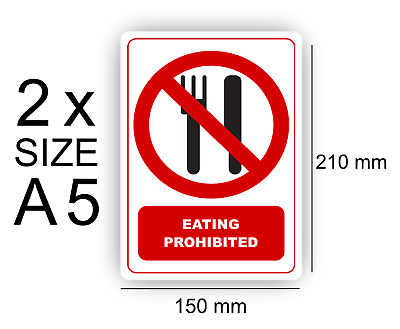 A5 Eating Prohibited of 2 Self Adhesive Vinyl,Sign,Waterproof