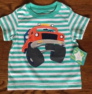 Nwt Nursery Rhyme Boys Size 12 Months Striped Short Sleeve Tee W/ Truck Msrp $18