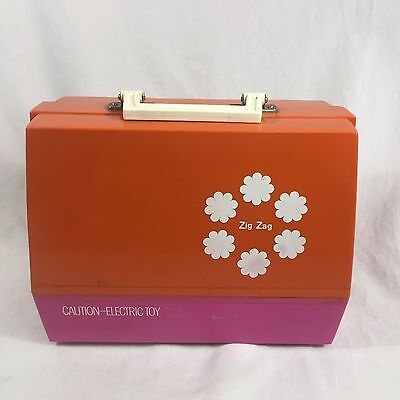 Vintage JCPenney Sewing Machine Electric With Carrying Case Pink and Orange