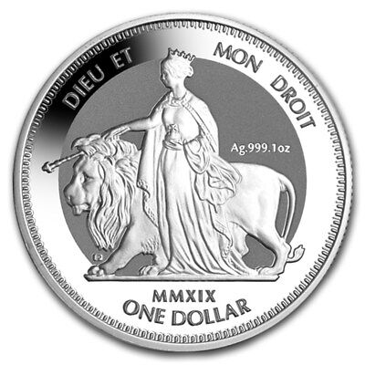 2019 British Virgin Islands Una & The Lion Frosted BU 1 oz Silver with Capsule