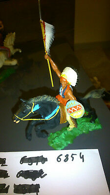 Elastolin 7 cm Indian chief on horseback with spea #6854 (perfect condition)