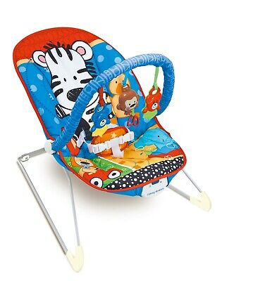Zippy Zebra Baby Rocker Bouncer Chair With Soothing Music, Vibrations & Toys