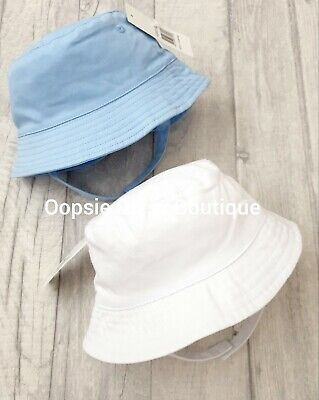 Baby Boys Traditional Style Sun Hat - White & Blue  ☆
