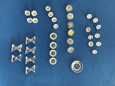 Vintage Clear Glass Buttons. Mixed Shapes. Lot of 34.