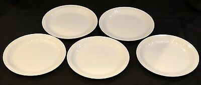 "5 IRONSTONE Alfred Meakin White 10"" DINNER PLATES ENGLAND Embossed Diamonds"