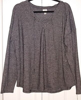 Nwot Target A New Day Gray White Striped Long Sleeve Thin