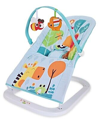 Premium Zoo Baby Rocker Animal Bouncer Chair Seat With Soothing Music Vibrations