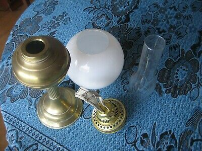 vintage two burner oil lamp with funnel and shade