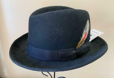 Boys Easter Hat - Wool Felt Black Homburg/Godfather Dress Hat Kids Small L@@K!!!