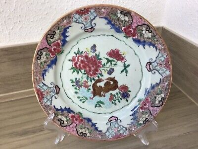 Plate Chinese export, Famille rose,  Yongzheng Dinasty 1723-1735
