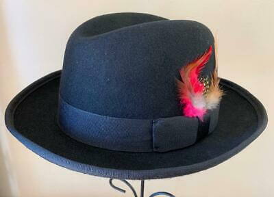 Boys Easter Hat Wool Felt Black Homburg/Godfather Dress Hat Kids L Satin-Lined