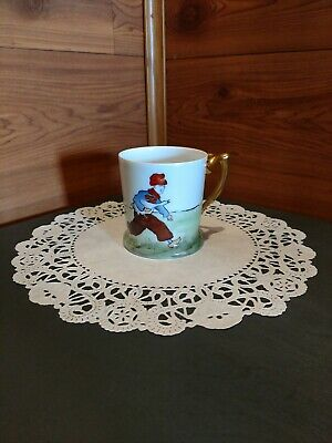 """Signed """"Favorite Bavaria"""" Antique Hand Decorated Porcelain Cup Made In Germany"""
