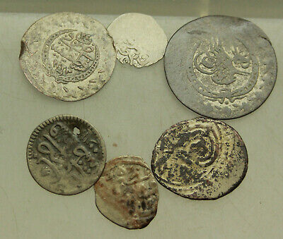 Group Lot of 6x Silver Ottoman Islamic Empire Turkey Coins D=10-21mm