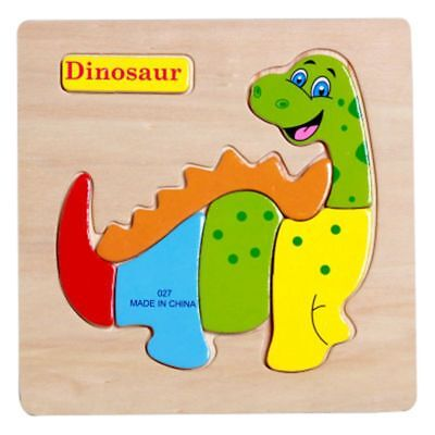 Kids Early Learning Pre-school Educational Toy Dinosaur Wooden Puzzle Jigsaw