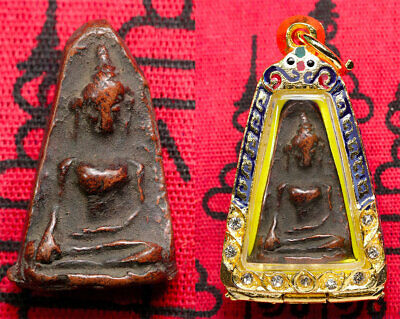 NECKLACE PENDANT SOMDEJ AMULET BUDDHA SILVER STERLING HAND PHRA WAT AXE UP RARE