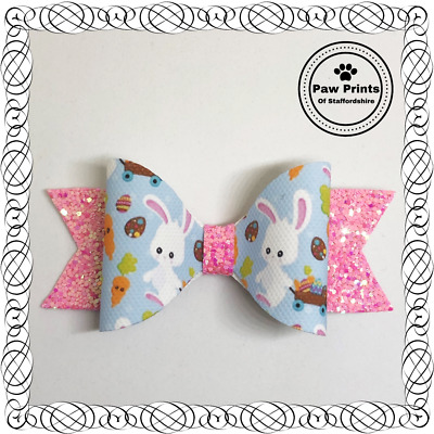 "Easter Bunny Glitter Hair Bow - Pink & Blue Sparkly 3.5"" Hair Bow"