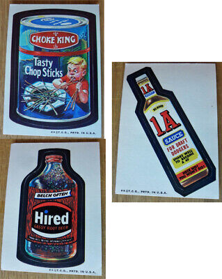Hired Root Beer Choke King 1A Sauce Stickers Wacky Packs 1973 Series 3 Tan Back