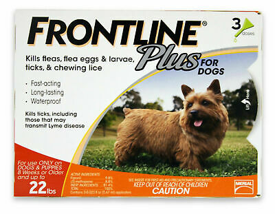 Frontline Plus for Dogs 5-22 lbs 3 Doses Genuine Brand New and Sealed