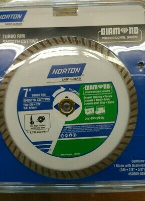 "Norton 7"" 180mm Wet Or Dry Cut Turbo Diamond Circular Saw Blade Brand New"