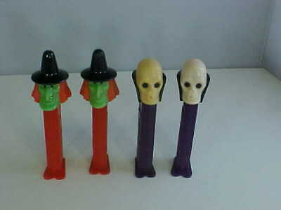 Pez Halloween Lot of 4 Two Ea Witch and Dr Skull Feet Made In Slovenia No Candy