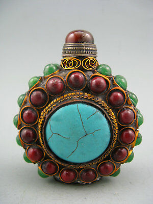Collectible Old China Copper cloisonne inlay Turquoise Snuff Bottle