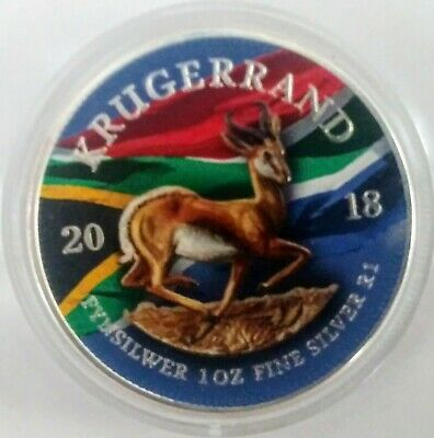 2018 SOUTH AFRICA 1 RAND KRUGERRAND COLORIZED 1oz .999 ENCAPSULATED SILVER COIN