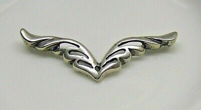 Connector, sterling silver, 39x13mm wings