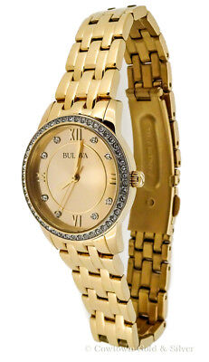 Bulova Ladies Watch 27Mm Champagne Dial Crystal Accents Gold Tone 97X104