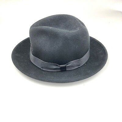a6cefcf2c HATS IN THE Belfry Men Small Black Soft 100% Wool Fedora wpl 4384 S ...