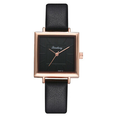 Ladies Women Girl Analog Quartz Wrist Watches Fashion Leather Strap Black