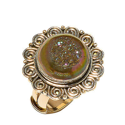 Titanium Druzy Vintage Style 925 Sterling Silver Ring 8.5(828)