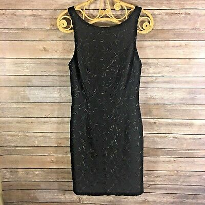 ea73fc30 NICOLE MILLER Black Embroidered Sleeveless Fitted Dress Size 2 r407 .