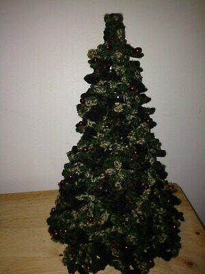 Crochet Christmas Tree, Camouflage, Red Decorations, Army Camo