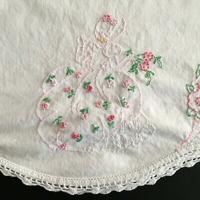 Vintage White Cotton Pillow Case Floral Embroidered Roses Lady Crocheted Lace