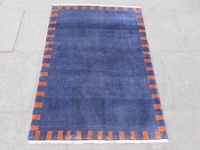Old Traditional Hand Made Persian Rugs Oriental Blue Wool Gabbeh Rug 149x104cm