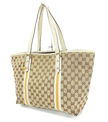 fce23ce91 Authentic GUCCI Brown GG Canvas and Leather Tote Shoulder Bag Purse #31437