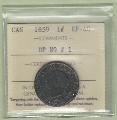 1859 Canadian Large One Cent - DP N9 #1 - ICCS Graded EF-40