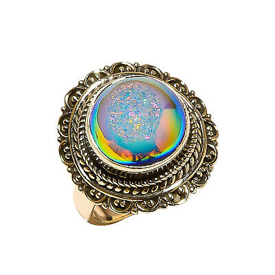 Titanium Druzy Vintage Style 925 Sterling Silver Ring 6(738)