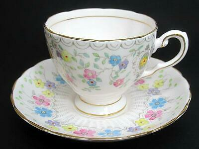 Plant Tuscan Tea Teacup Cup & Saucer c1940's Hand Jeweled Floral Decor Pale Pink